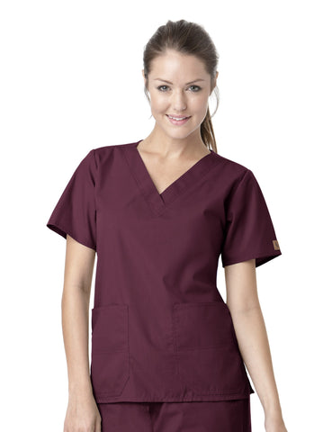 Women's Premium V-Neck 2 Pocket Top - Wine
