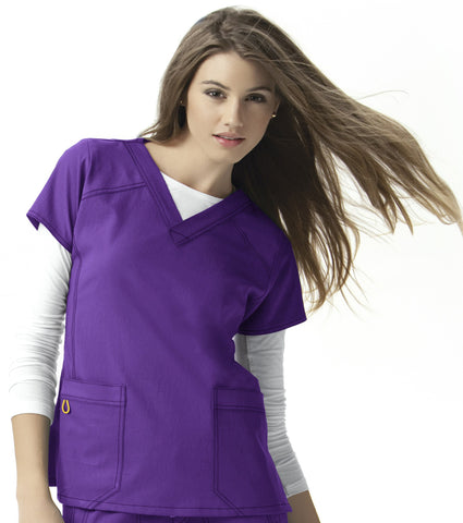 Women's Four-Stretch Sporty V-Neck Top - Electric Violet