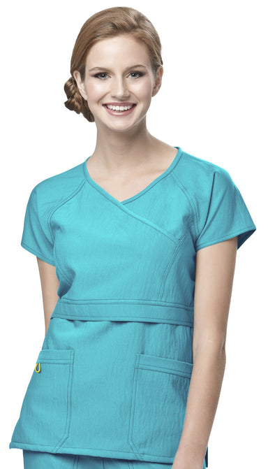 Women's Four-Stretch Raglan Sleeve Mock Wrap Top - Real Teal