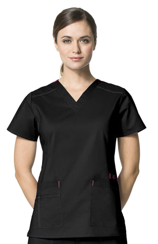 Women's WonderFlex Verity V-Neck Top - Black
