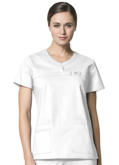 Women's WonderFlex Patience Curved Notch Neck Top - White