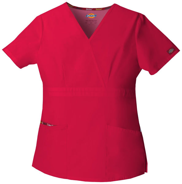 Women's Everyday Scrubs Signature Mock Wrap Top - Red