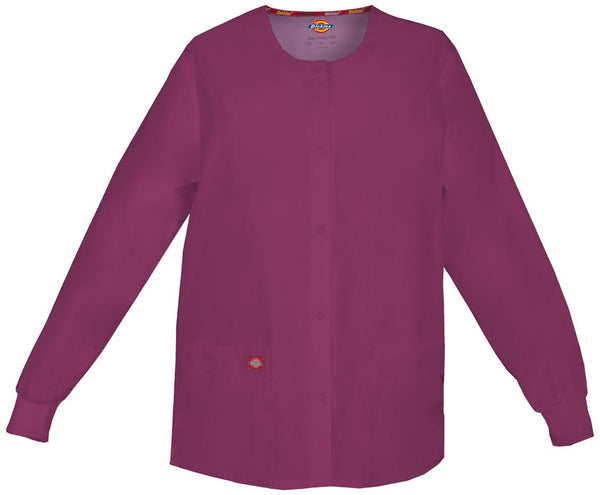 Women's Everyday Scrubs Signature Snap Front Warm Up Jacket - Wine
