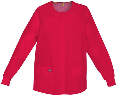 Women's Everyday Scrubs Signature Snap Front Warm Up Jacket - Red