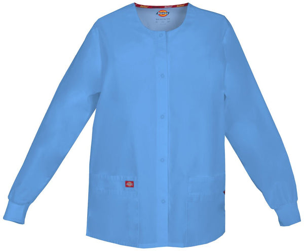 Women's Everyday Scrubs Signature Snap Front Warm Up Jacket - Ceil Blue