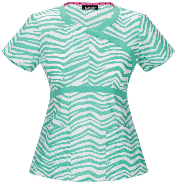 Women's Mock Wrap Top - Stripe A Pose-Mint
