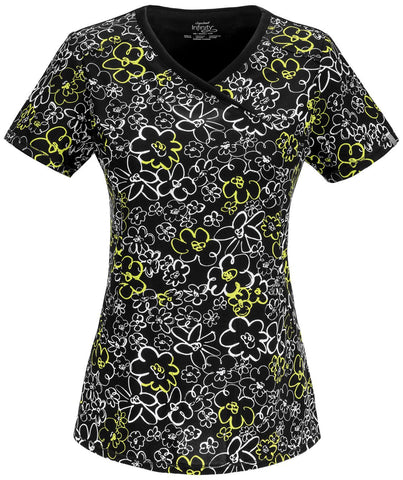 Women's Infinity Mock Wrap Top - Flower Doodle