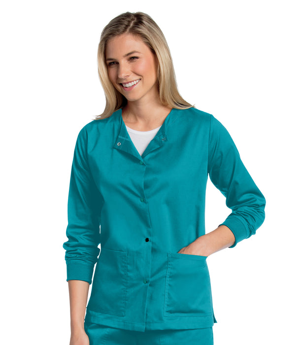 Scrub Shopper Women's All Day Snap Front Warm Up Scrub Jacket - Scrub Shopper
