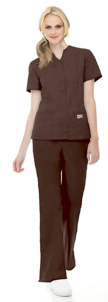 Women's Snap Front Tunic - Brown