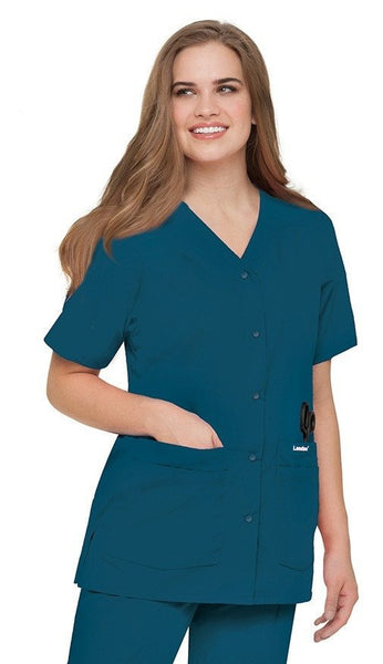Women's Snap Front V-Neck Tunic - Caribbean Blue