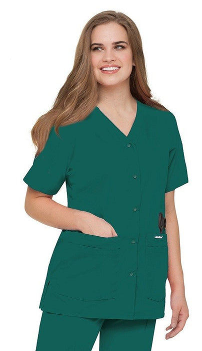 Women's Snap Front V-Neck Tunic - Hunter Green