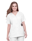 Women's Snap Front V-Neck Tunic - White