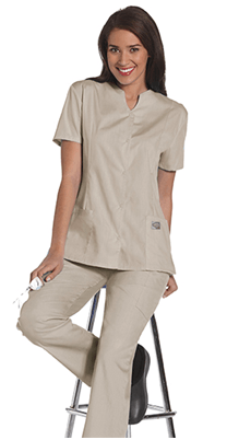 Women's Snap Front Tunic - Sandstone