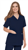 Women's Snap Front V-Neck Tunic - Navy