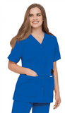 Women's Snap Front V-Neck Tunic - Royal Blue