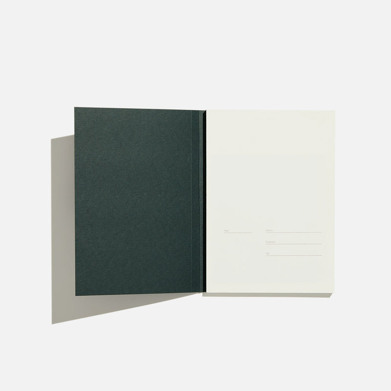 Before Breakfast dark green graph ruled notebook handmade in london available at yod and co