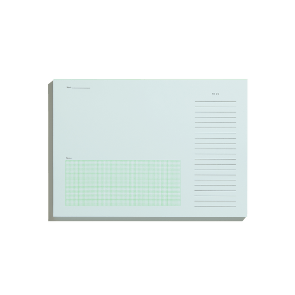 Before breakfast desktop notepad in pale blue and fluoro green binding