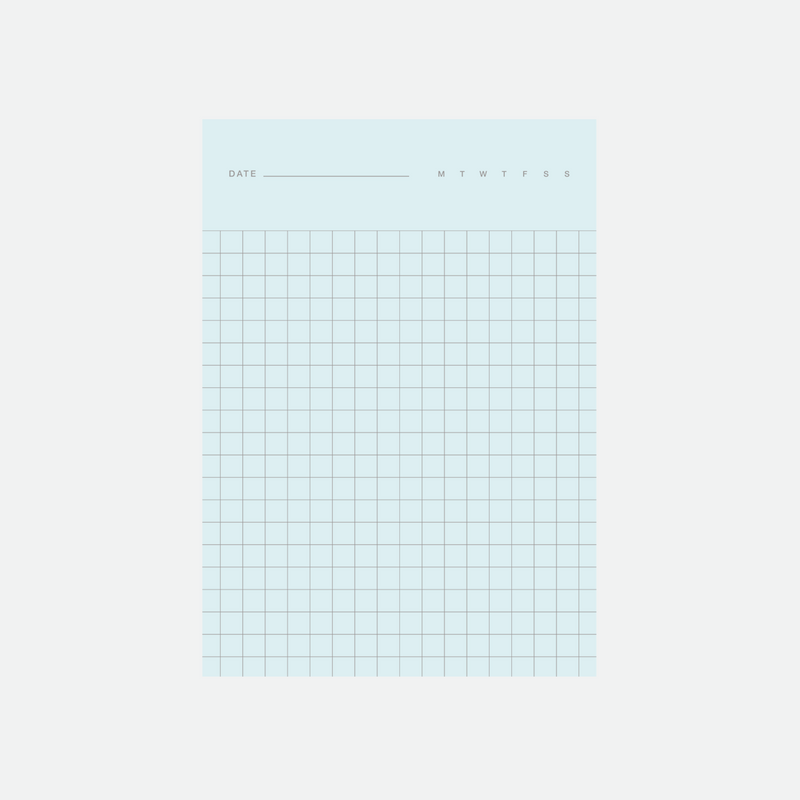 Before breakfast 2in1 note pad in blue and green with graph and line rule