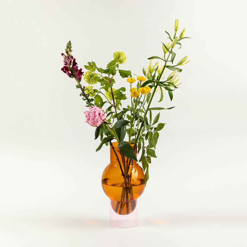 Orange and pink glass bubble vase by Studio About