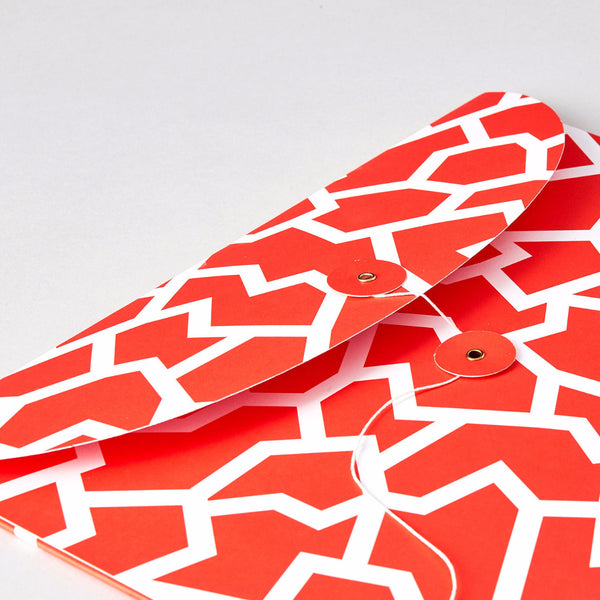 Fracture Warm Red Organiser Envelope