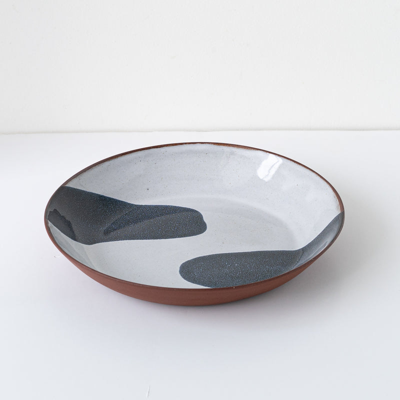 Silvia K terracotta ceramic pasta bowl with 2 black decoration