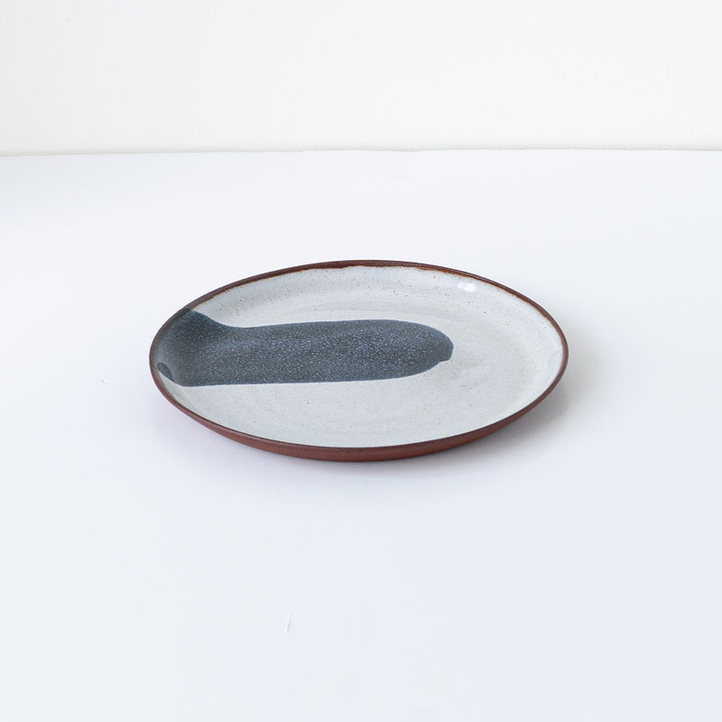 Silvia K handmade terracotta small plate with white and black decor