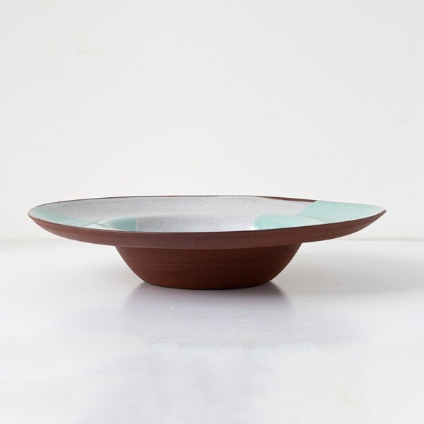 Wide rimmed bowl terracotta ceramic in green celeste decor