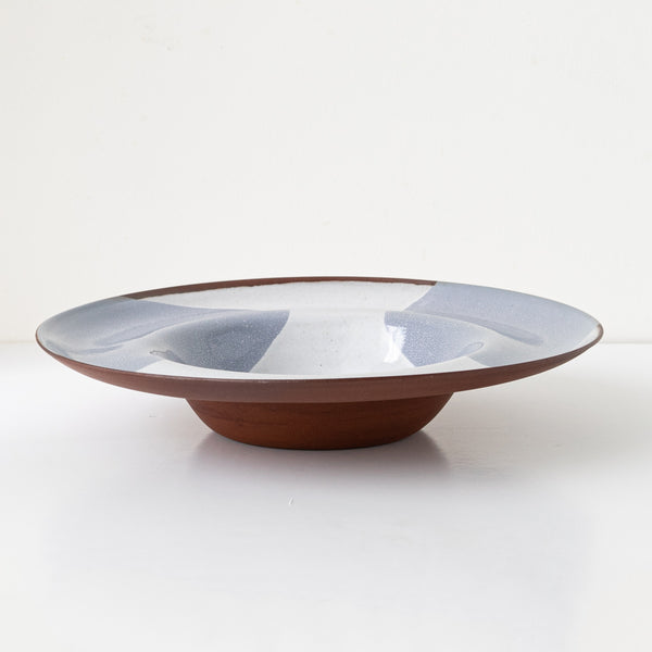 Wide rimmed bowl terracotta ceramic in grey stone decor