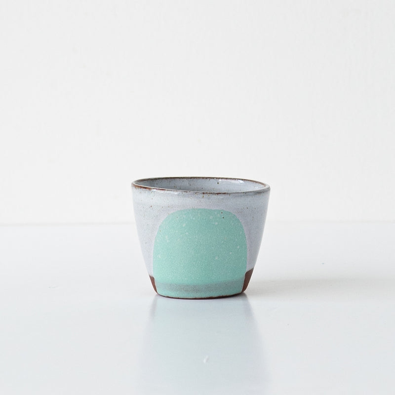 Silvia K hand made terracotta ceramic espresso cup in mint celeste