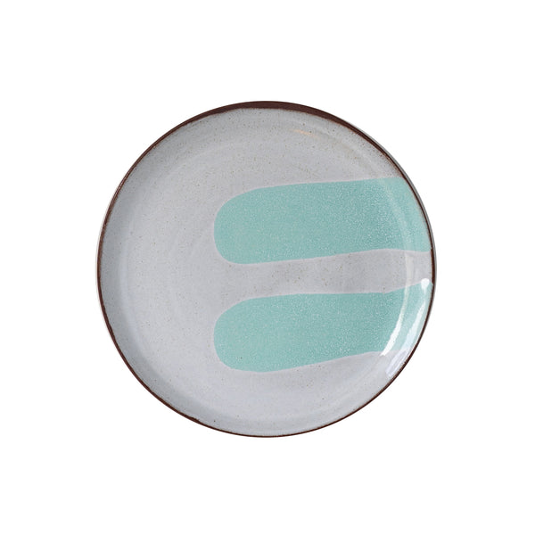 Silvia K hand made terracotta plate with white and 2 turquoise decor
