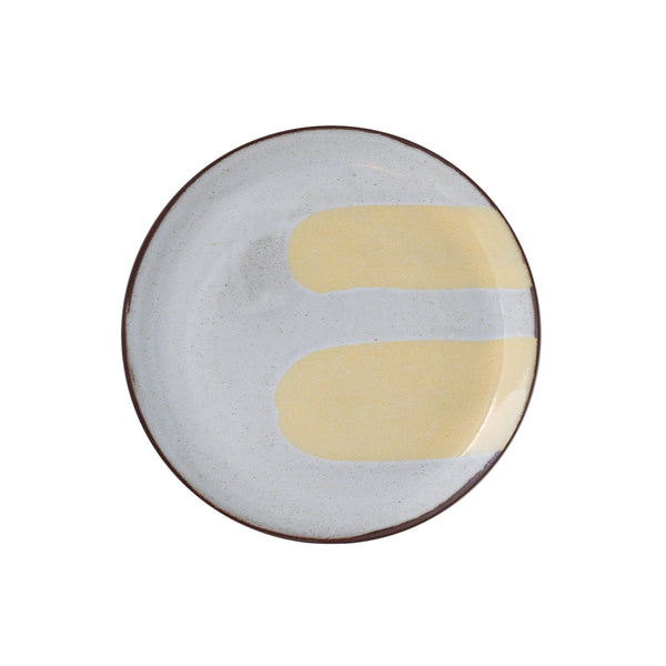 Silvia K hand made terracotta plate with white and 2 pale yellow decor