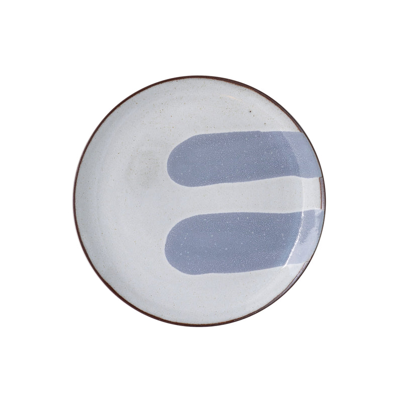 Silvia K hand made terracotta plate with white and 2 stone greyecor