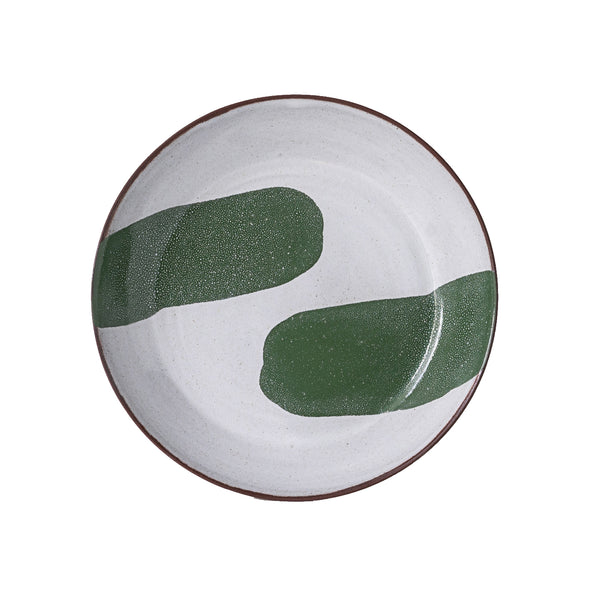 Silvia K terracotta ceramic pasta bowl with 2 green decoration
