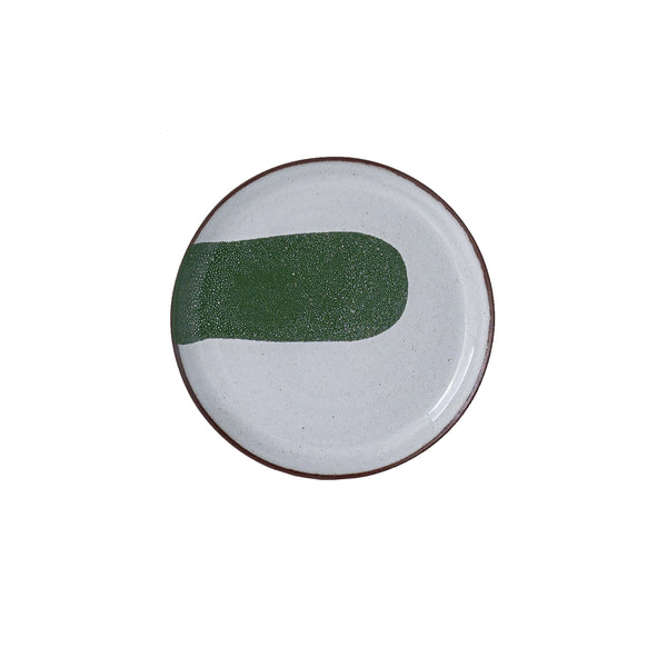 Silvia K handmade terracotta small plate with white and green decor