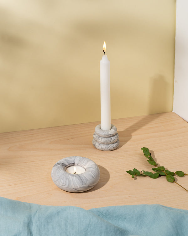 Jesmonite marble candle holder in grey