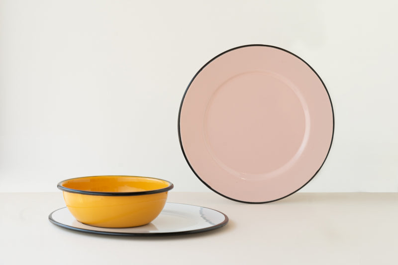 White Enameled Dinner Plate by Utilitario Mexicano
