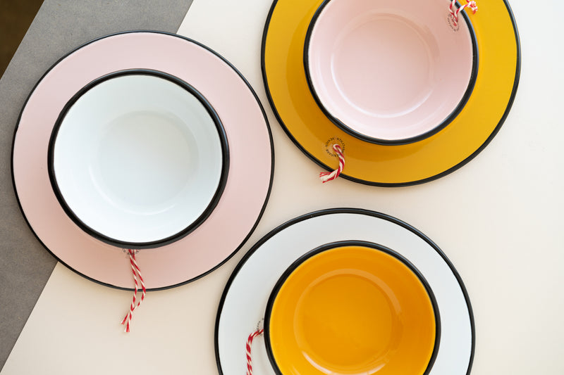 Pink Enameled Dinner Plate by Utilitario Mexicano