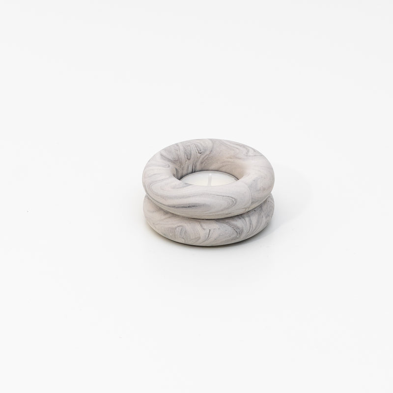 Double O Candleholder in marble grey jesmonite