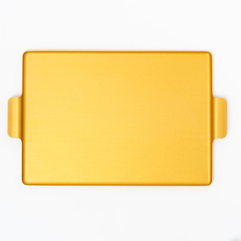 kaymet metal tray 16.5in in gold