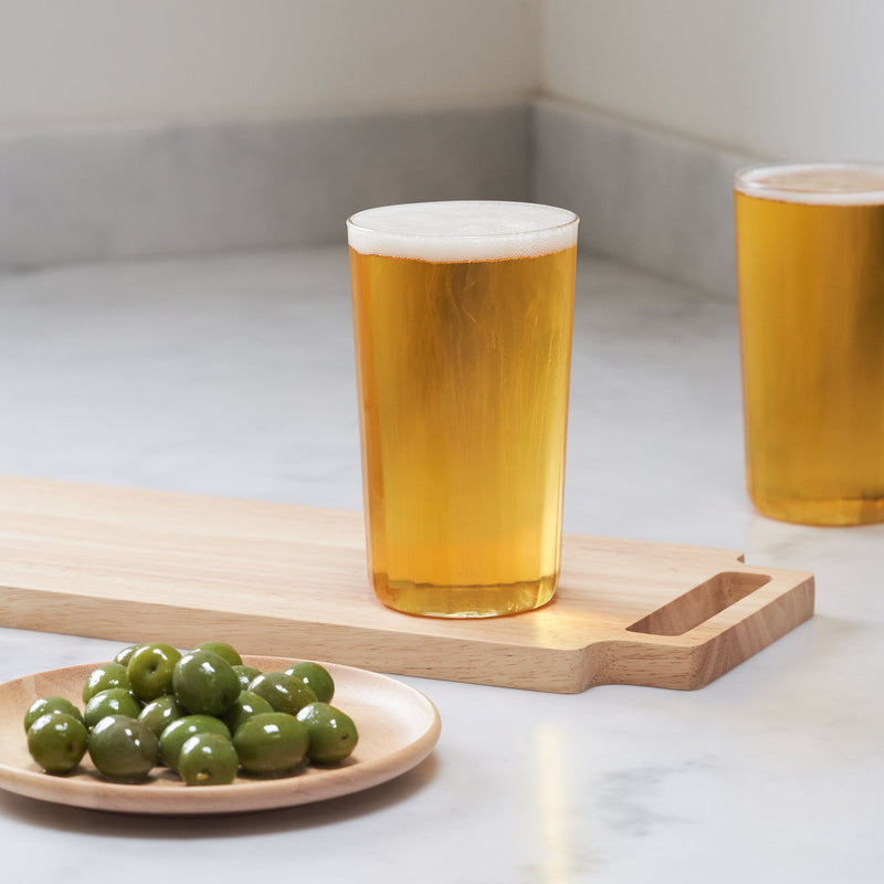 Yod and Co Rivington high ball glasses design by London design studio Blond with beer and olives