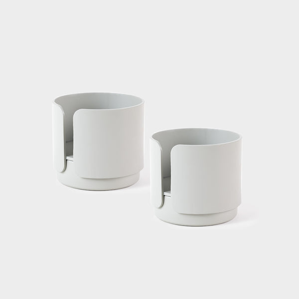 a pair of grey candle holder for tealight and candles for the contemporary design lover and scandinavian style