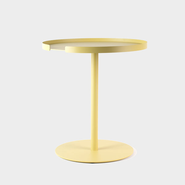Lemon yellow round side table in metal