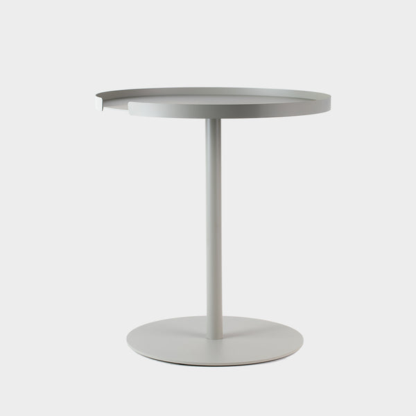 Grey round side table in metal