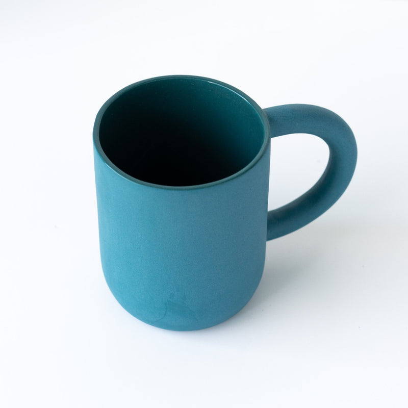 laureanne kootstra design hand made ceramic petrol blue porcelain mug