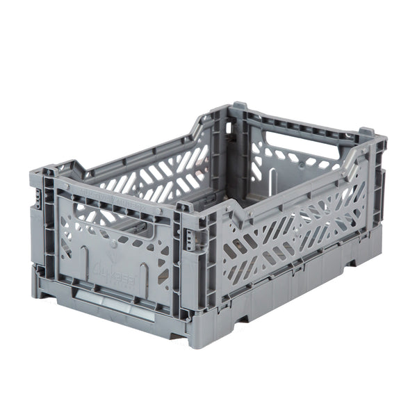 Hay Colour crate , Aykasa foldable plastic crate in grey