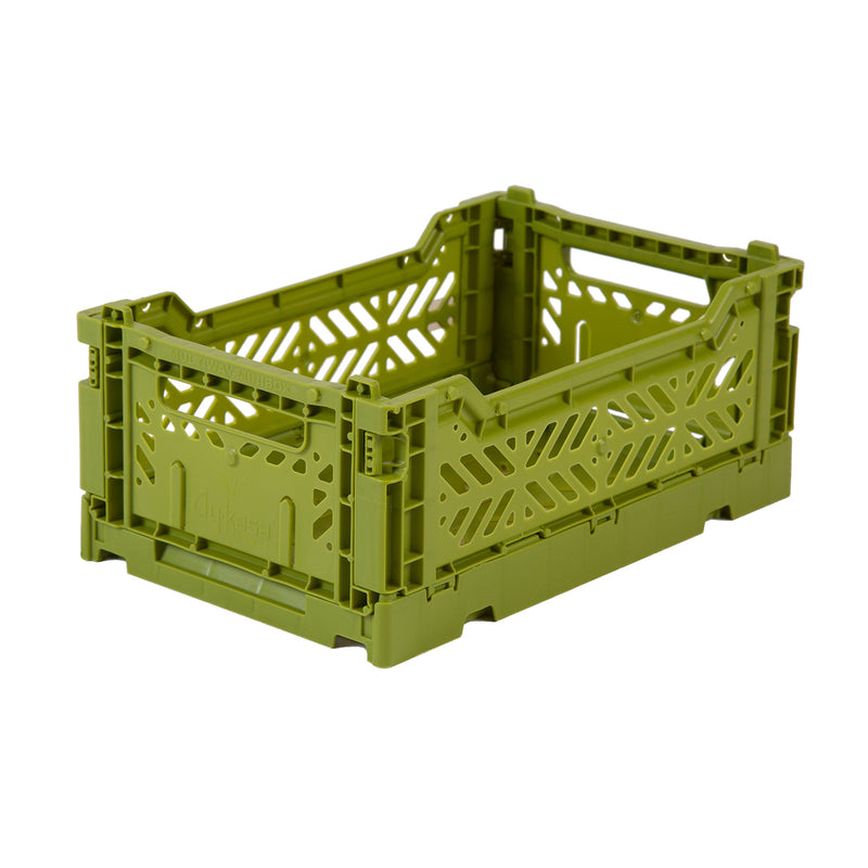 Hay Colour crate , Aykasa foldable plastic crate in olive green