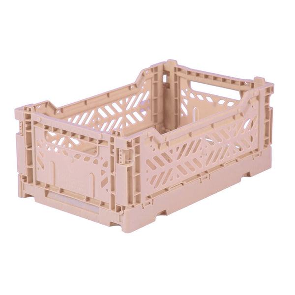 Hay Colour crate , Aykasa foldable plastic crate in light pink milk tea