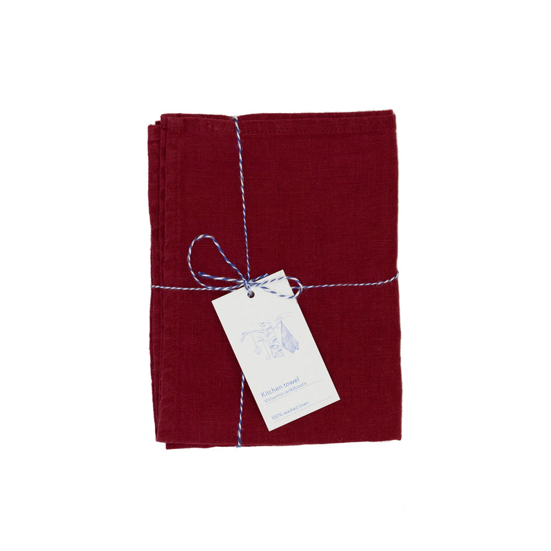 red burgundy premium linen kitchen tea towel