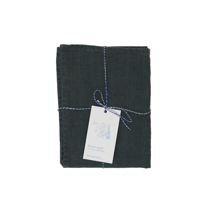 Forest green premium linen kitchen tea towel