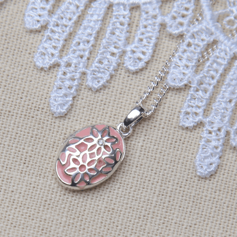 Pink Flower Diamond Child's Locket - The Locket Tree